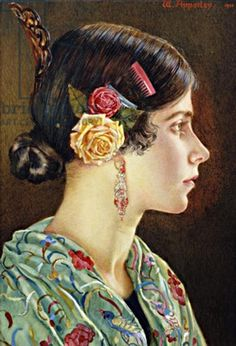 My mother Enriqueta at 17. Watercolour by my father dated 1920. More here https://www.facebook.com/G.O.W.Apperley