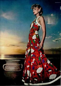 L'Officiel 1970s, floral maxi dress