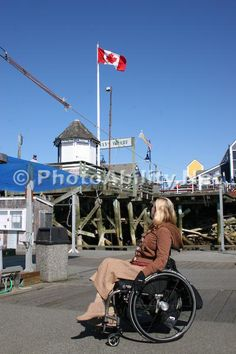 wheelchair;woman;disabled;disability;tourist;tourism;travel;holiday;Vancouver;British-Columbia;Canada;Steveston