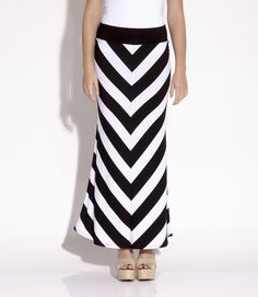 #KarenKane Stripe Contrast Maxi Skirt #chevron available at #earabstracts #boutique We ship!