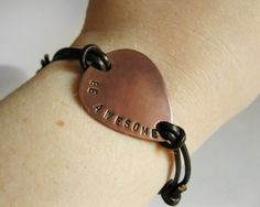 Men/Women Copper Guitar Pick Bracelet Leather by MetalAccessories