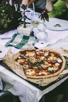 Sweet Potato, Pesto, Red Onion and Zucchini Ribbon Pizza