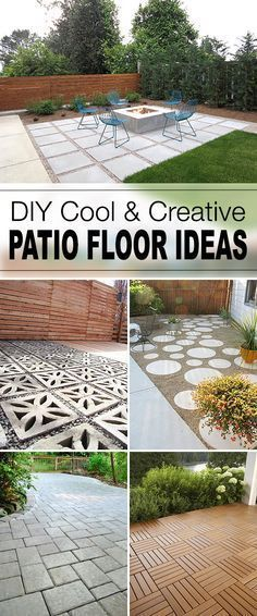 Create a stylish patio with large poured concrete pavers for Cheap creative flooring ideas