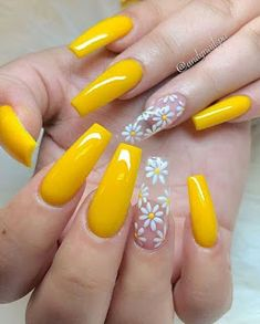 Cute yellow coffin spring nails with accent translucent floral nail If you are searching for cute nail colors for spring and beautiful spring nail designs then check our Stylish nails especially Floral nails and butterfly nails. Yellow Nail Art, Acrylic Nails Yellow, Yellow Nails Design, Orange Nail, Cute Spring Nails, Nail Summer, Nail Ideas For Summer, Pink Summer, Sunflower Nails