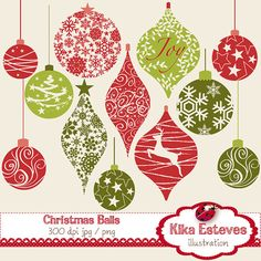 Christmas Balls Digital Clipart / Scrapbooking - card design, invitations, stickers, paper crafts, web design - INSTANT DOWNLOAD