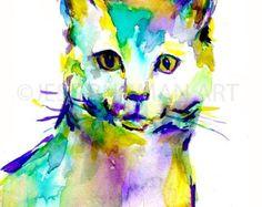 ON SALE Cat Watercolor Painting Print Black Cat by JessBuhmanArt