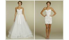 Long to short wedding dress. This is the aim 2 In 1 Wedding Dress, Wedding Dress Organza, Tulle Wedding, Strapless Dress Formal, Wedding Gowns, Lace Dress, Wedding Ceremony, Vestido Convertible, Convertible Wedding Dresses