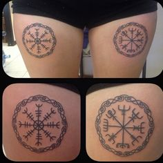 Helm of awe and vegvisir runes / symbols. Right leg is the Helm of awe for protection. Left leg is Vegvisir for guidance through the storm, otherwise known as the Viking compass. by deathtoreality Future Tattoos, Love Tattoos, Beautiful Tattoos, New Tattoos, Viking Symbols And Meanings, Rune Symbols, Unique Tattoos For Men, Tattoos For Women, Tattoos For Guys