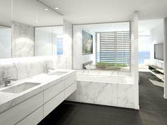 cuartos de baño con marmol modeno led blanco