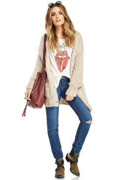 Rolling Stones T Shirt Band Shirt Outfits, Cardigan Outfits, Knit Cardigan, Rolling Stones Shirt, Daily Look, Autumn Winter Fashion, Winter Style, Spring Style, Fall Winter