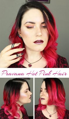 My new Pravana Hot Pink Hair. Last Tuesday I got my hair cut, as it desperately needed a trim. Last Friday I spent several hours at the salon so that I could get rid of my red hair and switch to hot pink. After months of being a redhead, I needed a change. I went to see Cliff at iStyle. I believe he used Pravana Black and Magenta to create my bright hot pink hair. I love it!