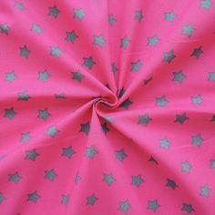 100% Baumwollstoff bedruckt  Sterne Groß  Farbe Pink-Grau