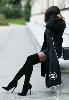 #winter #fashion /  Black OTK Boots+  Knit Dress