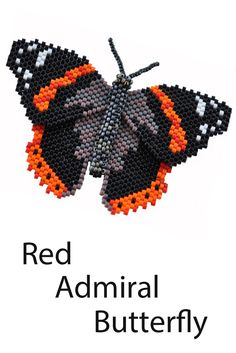 "Butterfly pattern for a Red Admiral. From the book ""3-D Butterfly Patterns in Peyote Stitch"" by Sheila Root"
