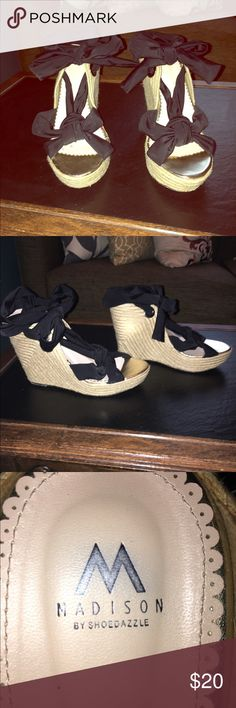 Lace up black wedges!!!! Super cute tall lace up wedges. No damage, pretty new. Weaved heel. 4inch heels. Shoe Dazzle Shoes Wedges