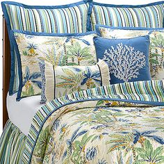 7pc Hawaii Embroidery Palm Tree Faux Silk Comforter King