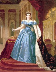 Isabel II by ? Historical Costume, Historical Clothing, Medieval Clothing, Victorian Fashion, Vintage Fashion, Spain History, Royal Families Of Europe, Spanish Royalty, Isabel Ii