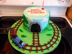 Children's Birthday Cakes - Thomas the Train birthday cake Train Birthday Party Cake, Thomas Birthday Cakes, Toddler Birthday Cakes, Thomas Birthday Parties, Thomas Cakes, Thomas The Train Birthday Party, 1st Boy Birthday, Birthday Ideas, Train Party