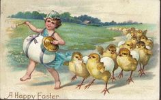 icollect247.com Online Vintage Antiques and Collectables - A Happy Easter - Postcard 1909 Paper Ephemera-Postcards and