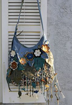 Hippie Recycled Denim Leather Bag Boho Macramé от AllasOriginals