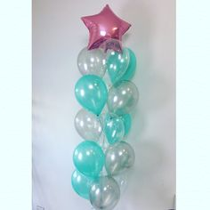 Pearl pink star foil up top with a beautiful combination of Mint Green, Silver and Diamond Clear - lovely, delicate, elegant.