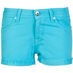 DL 1961 Cameron parrot short ($97) ❤ liked on Polyvore featuring shorts, short, short shorts, destroyed shorts, torn shorts, turquoise shorts and distressed shorts