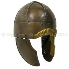 Wide band spangenhelm with plain nasal in Dark Iron finish by Wyrmwick Creations.  http://www.wyrmwickcreations.com/ourshop/prod_3144292-Wide-Band-Spangenhelm-Plain-Nasal.html