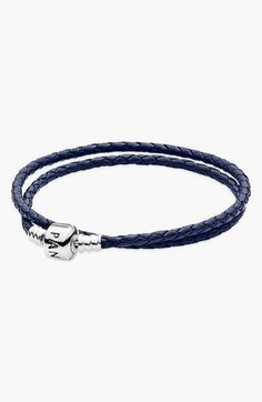 Free shipping and returns on PANDORA Leather Wrap Charm Bracelet at Nordstrom.com. A long leather bracelet wraps the wrist to offer twice the real estate for collected charms. The logo-etched clasp makes a brilliant finish.