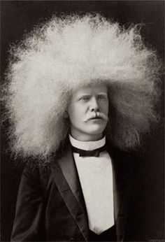 The Amazing Albino Afro Man - Circus Freak Series - Altered Vintage Plate I want this! Bad Hair Day, Big Hair, Vintage Photographs, Vintage Photos, White Afro, Blinded By The Light, Pose, Pelo Afro, Circus Performers