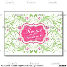 Pink Green Floral Recipe Card for the Bride