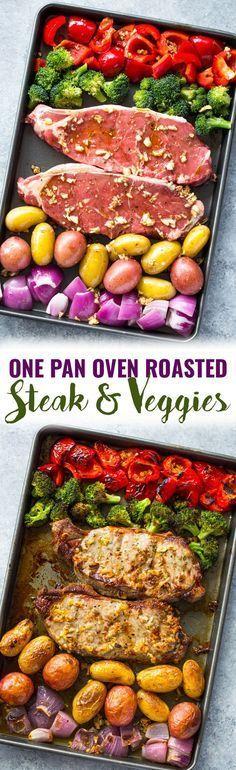 One Pan Oven Roasted Steak and Veggies Recipe #easydinner #dinnerrecipe