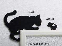 Kantenhocker Katze Luci mit Maus in schwarz, als Wanddekoration f¨¹r den T¨¹rrahmen #mit, #Maus, #Luci, #Kantenhocker