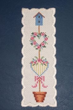 Birdhouse Topiary Bookmark I cross-stitched. Birdhouse Topiary Bookmark I cross-stitched. Cross Stitch Bookmarks, Cross Stitch Books, Cross Stitch Heart, Cross Stitch Borders, Cross Stitch Flowers, Cross Stitch Designs, Cross Stitching, Cross Stitch Embroidery, Hand Embroidery