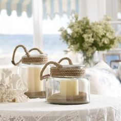 Simple, creative beach decor. It doesn't always have to be shells. Philippe Jar Lantern - Ralph Lauren Home