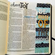 """James 1:22 """"be doers of the word, and not hearers only, deceiving yourself.""""  Supplies: various washi tape, alphas from target dollar section, old sticko alphas, and some other thickers. Choose joy stamp from dollar section at Michaels.   #biblejournaling #biblejournal #illustratedfaith #biblejournalingcommunity   Follow @jessellertson on Instagram for more Bible Journaling."""