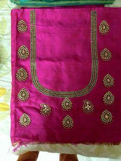 Pink Saree Blouse, Saree Dress, Mirror Work Blouse, New Blouse Designs, Maggam Work Designs, Salwar Designs, Blouse Patterns, Designer Wear, Embroidery Ideas