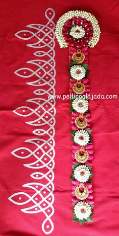 Order Fresh flower poolajada, bridal accessories from our local branches present over SouthIndia, Mumbai, Delhi, Singapore and USA. Rangoli Side Designs, Henna Art Designs, Rangoli Borders, Colorful Rangoli Designs, Wedding Mehndi Designs, Kolam Rangoli, Beautiful Rangoli Designs, Festival Decorations, Flower Decorations
