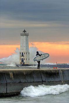 Surf's Up in Frankfort, Michigan! by ShaneWyatt, via Flickr