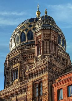 The blue-domed Neue Synagogue, or New Synagogue, is in the Scheunenviertel District (Barn Quarter), in the heart of Berlin's once large Jewish district.