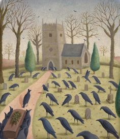 A Murder of Crows . Original illustration oil painting