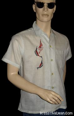 Mens Vintage Clothing: rare mens 1950's unworn shirt