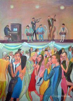 """Bailanta tanguera"", acrylic on canvas, 95 x 130 cm.,  2009"
