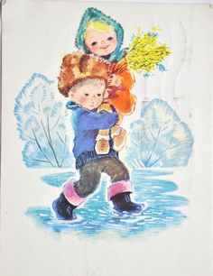 March 8 Soviet post cards USSR Sara Kay, Soviet Art, New Year Holidays, Children's Book Illustration, Ladies Day, Vintage Postcards, Childrens Books, Cool Pictures, Diy And Crafts
