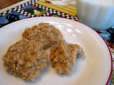 No-Bake Peanut Butter Oatmeal Cookies. Note comment below - additional oatmeal may have to be added to recipe to get cookie to set up.