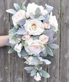 Cascade Wedding Bouquet Cream Rose Apricot Rose Italian