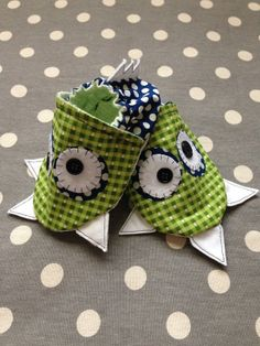 Green and Blue Baby Critter Shoes by Polkadotologie on Etsy, $18.00