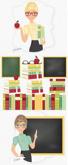 teacher clip art by Lovelytocu  Digital clip art illustration.