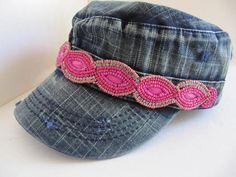 Cadet Hat, Military Cadet Hat, Hat, Cap, Jean Hat, Womens Hat, Woman Cap, Woman,  Womens Hat, Military Caps, Rhinestone Cadet Cap on Etsy, $26.00