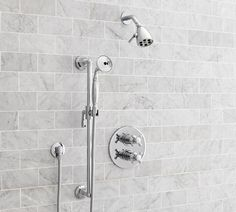 Shop warby pressure balance cross-handle hand-held shower faucet set from Pottery Barn. Our furniture, home decor and accessories collections feature warby pressure balance cross-handle hand-held shower faucet set in quality materials and classic st Shower Faucet Sets, Bathtub Shower, Shower Arm, Bathroom Showers, Bathroom Tubs, Shower Valve, Bathroom Cabinets, Widespread Bathroom Faucet, Sink Faucets