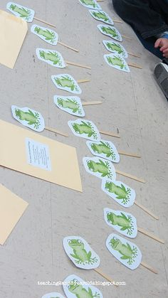 """I love using props during circle time! This is one of my favorites that we use for """"Five Green and Speckled Frogs"""". Link to printable is in the post. Teaching 2 and 3 Year Olds"""